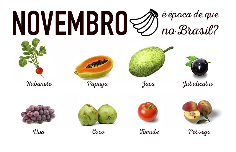 Novembro é época de que verduras e frutas no Brasil?