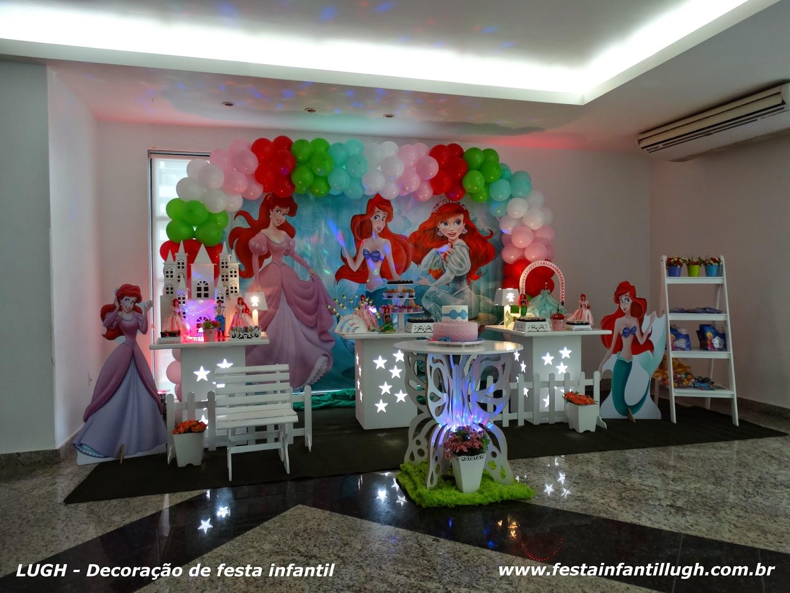 decoração provençal com o tema Ariel para festa de aniversário infantil de meninas.