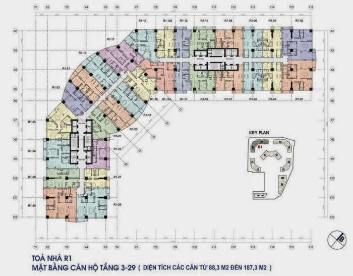 Kiến trúc toà R1 chung cư Royal City - mặt bằng tầng căn hộ điển hình từ tầng 3 đến tầng 29