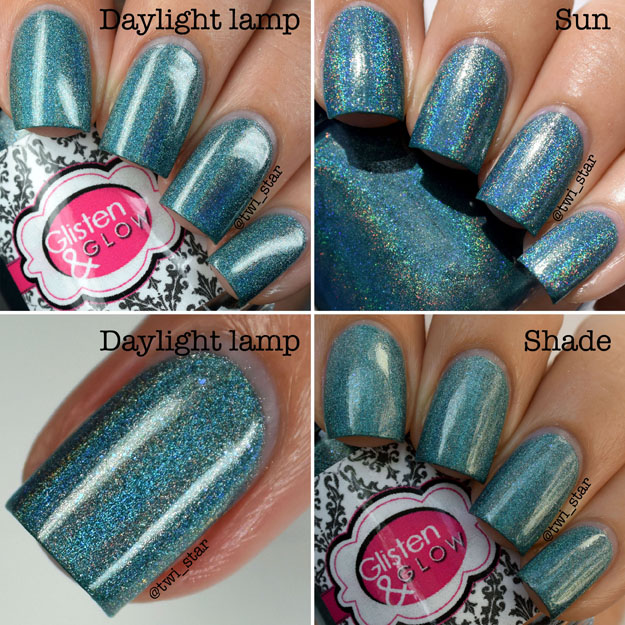 Glisten & Glow Clubbin' Teal Dawn - July 2015 A Box, Indied swatch review
