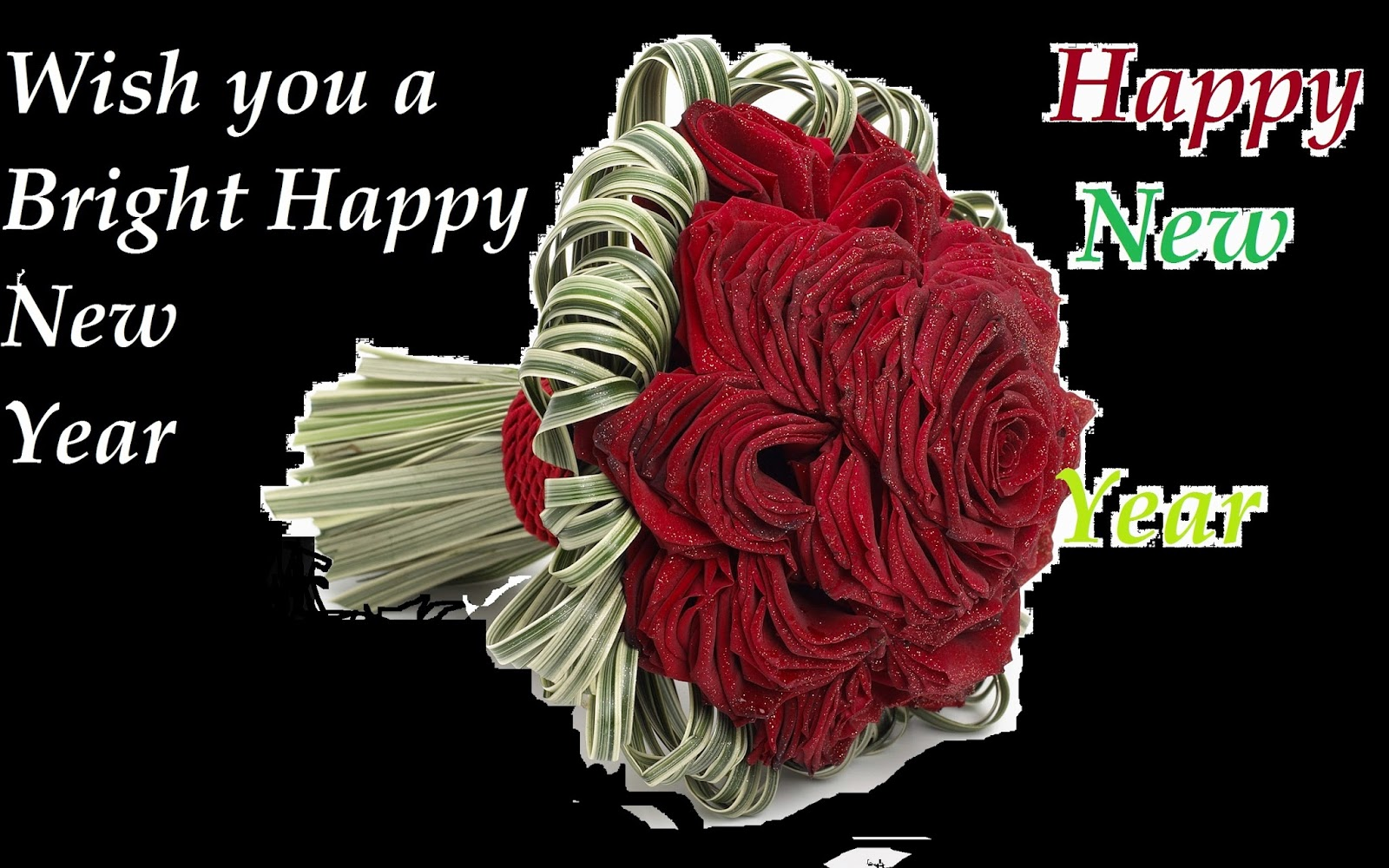 Happy New Year Of Greetings Roses Wishes Wallpapers