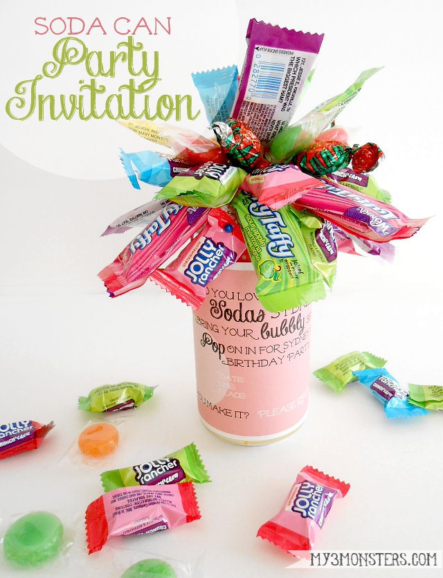 Soda Can and Candy Party Invitations with free printable labels at my3monsters.com