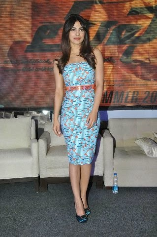 Priyanka Chopra :Priyanka Chopra In Blue Skirt Looks Very Hot and Gorgeous at the launch Of a Film