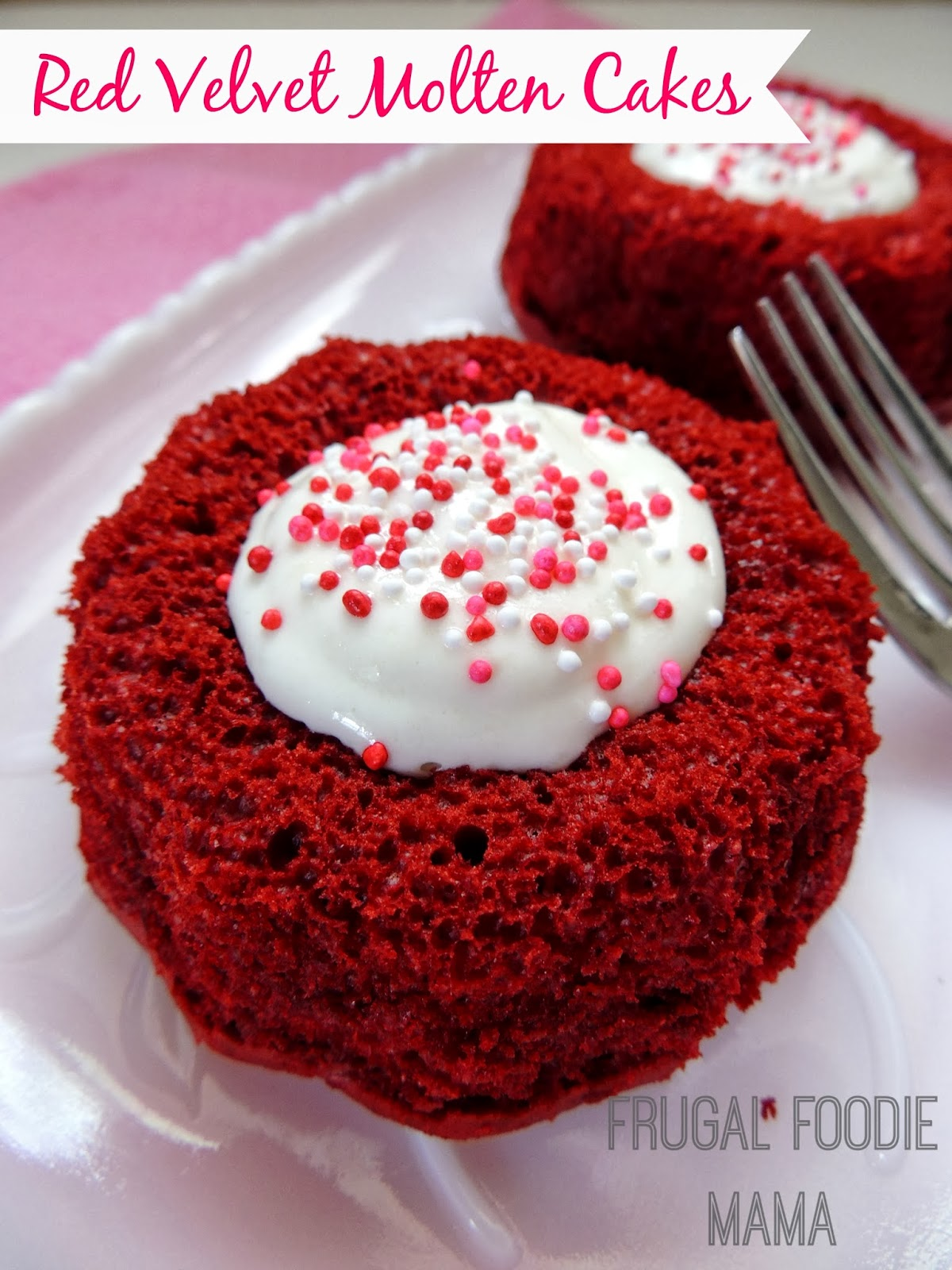 These easy Red Velvet Molten Cakes with an ooey, gooey cream cheese center start with a red velvet cake mix and are the perfect Valentine's Day dessert.