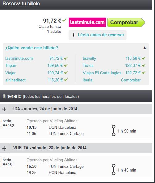 Iberia vuelo barato Túnez