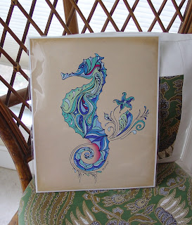 Seahorse Print by Green Girl Canvas on Etsy