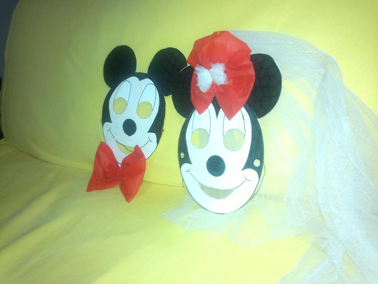 bayan mickey mouse, minnie mouse, maske çalışması
