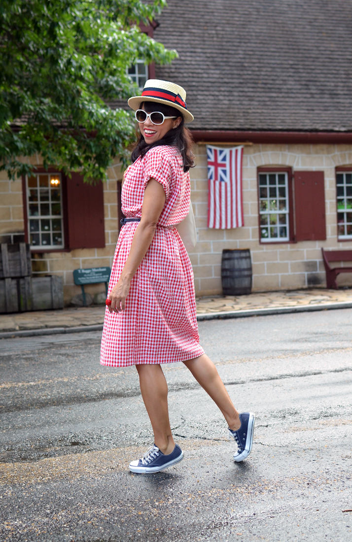 Converse Gingham Dress  Street Style