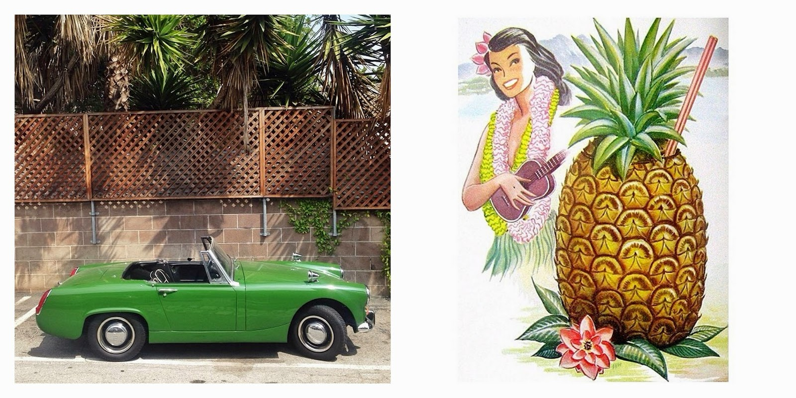 voiture,vintage,car,green,vert,ananas,pineapple,pin up,instagram,ululélé