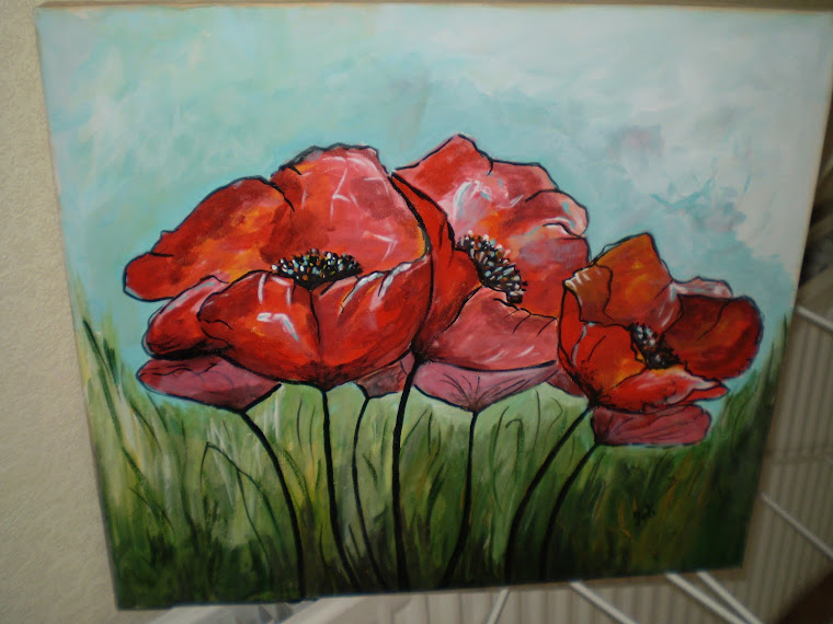 Poppies on canvas, acrylic, , signed Joli, 17,8/15 in