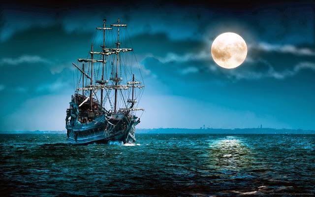 Pirate Ships Moon Night Wallpaper