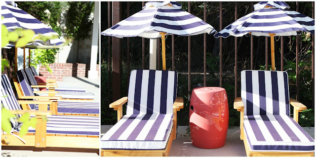 White Blue Stripe Awning Fabric Kids Child Lounge Chair