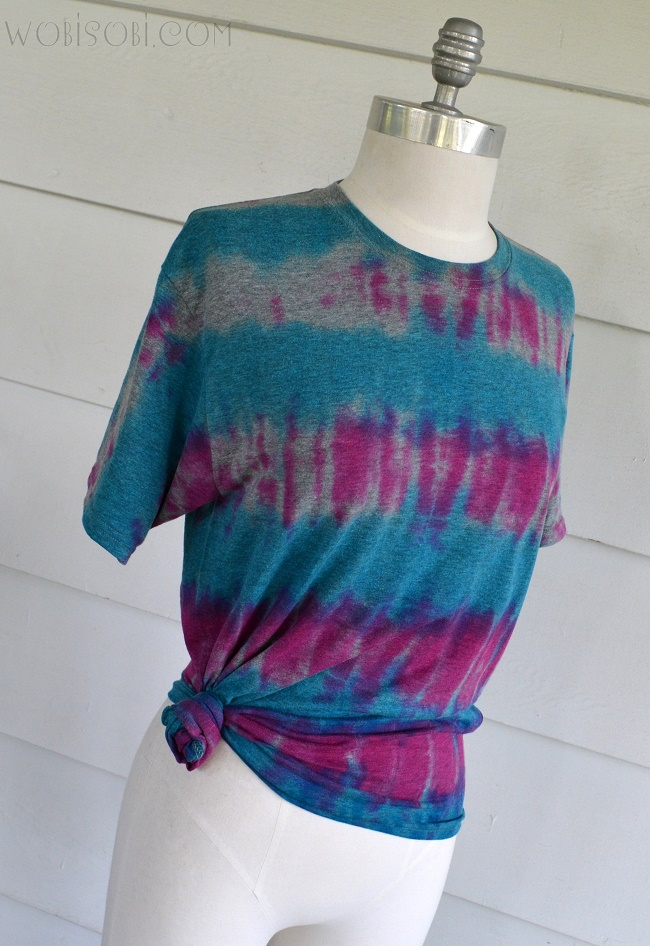 Wobisobi tie dye striped tee diy for Tie dye t shirt patterns