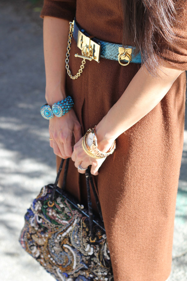 brown wool dress, BCBG toggle belt, YSL palais pumps, embroidered framed bag, karen walker number one sunglasses