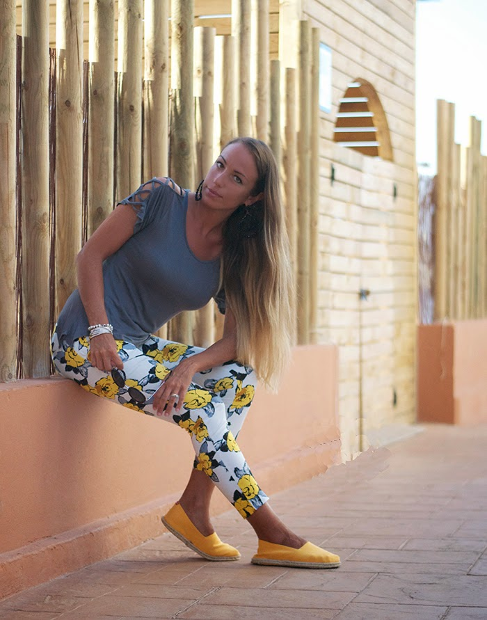 yellow flowers pants