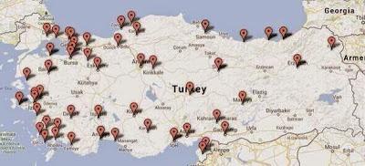 ülkeye yayılmış isyanın haritası