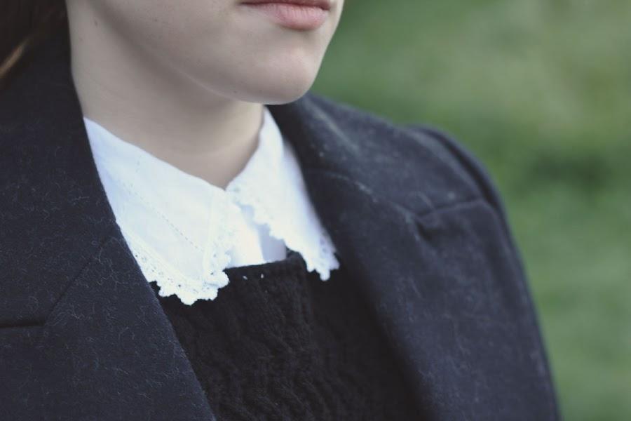 crochet trim collar blouse