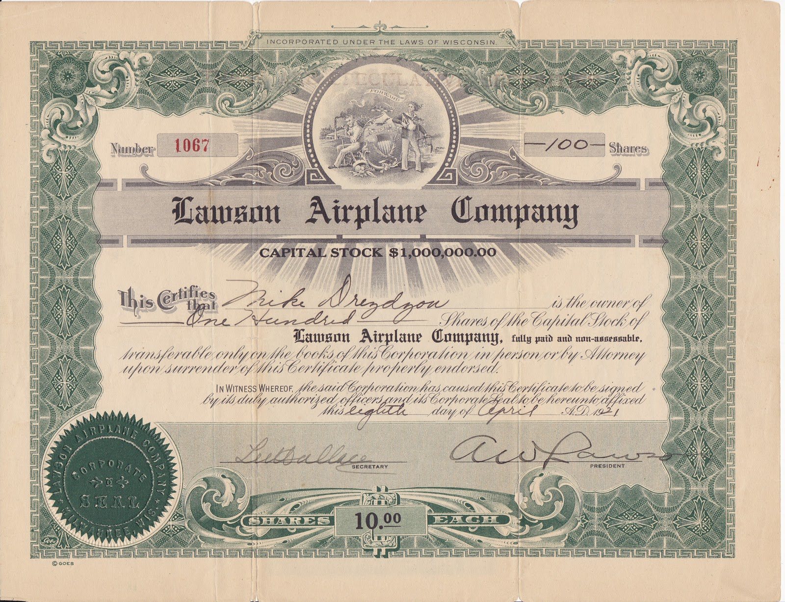 word sharestock certificate