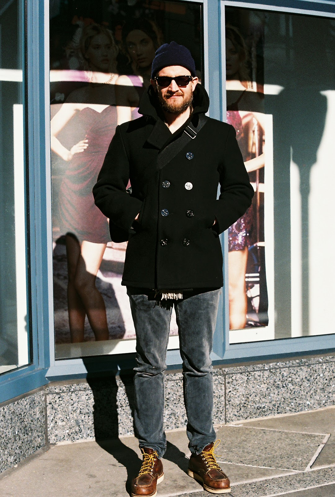 Street Gazing: Street Gazing... Pea coat, Red wing boot style.