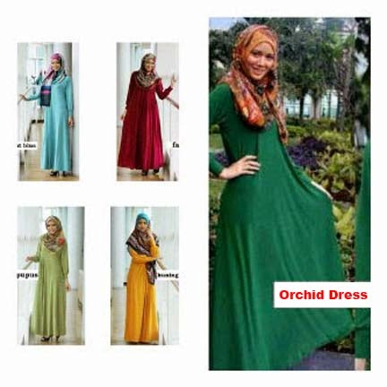 Gamis Jersey Umbrella Orchid Dress
