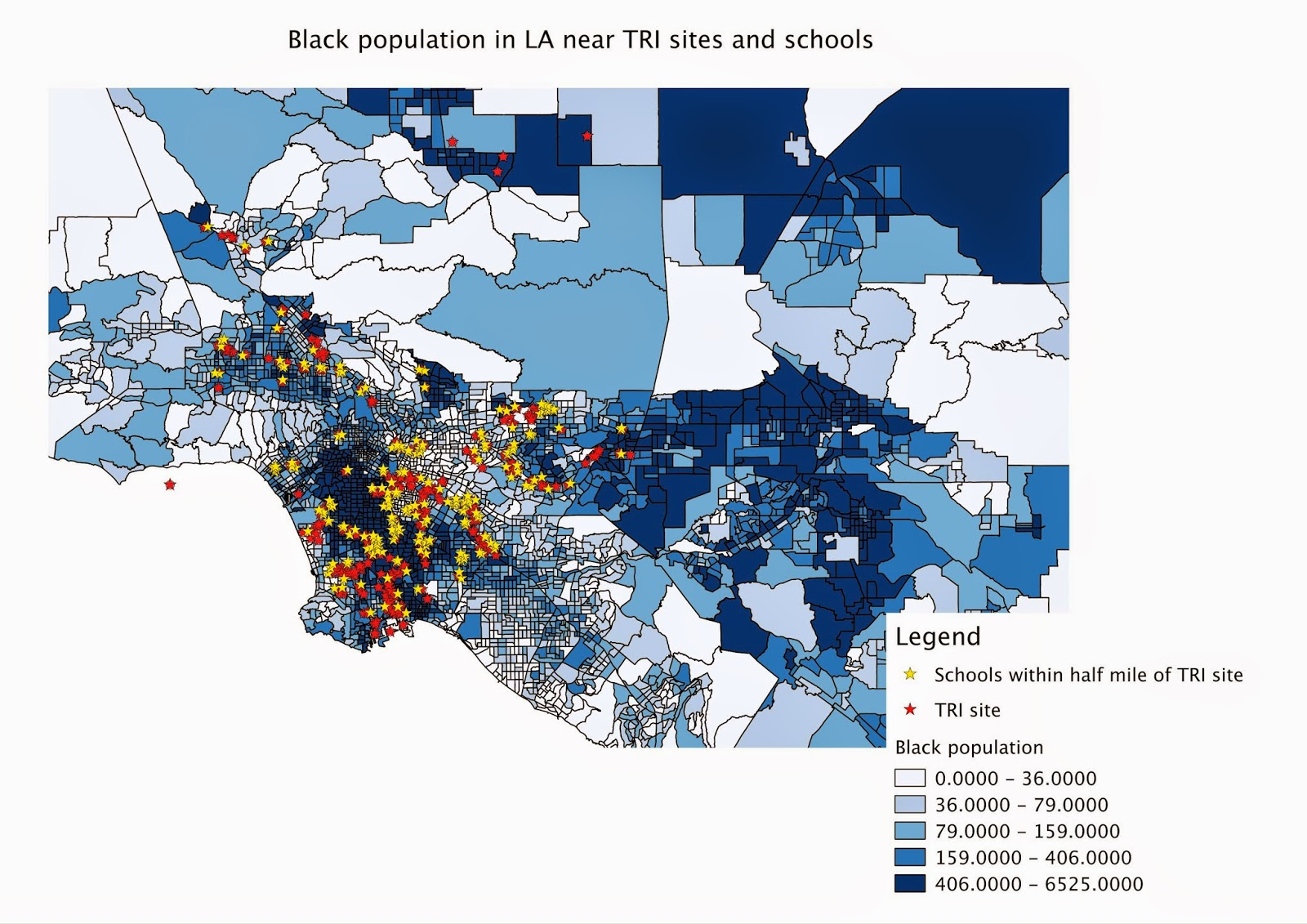 using data from the us health and human services website ucla mapshare s website i made maps using the data that for tri site locations in la county