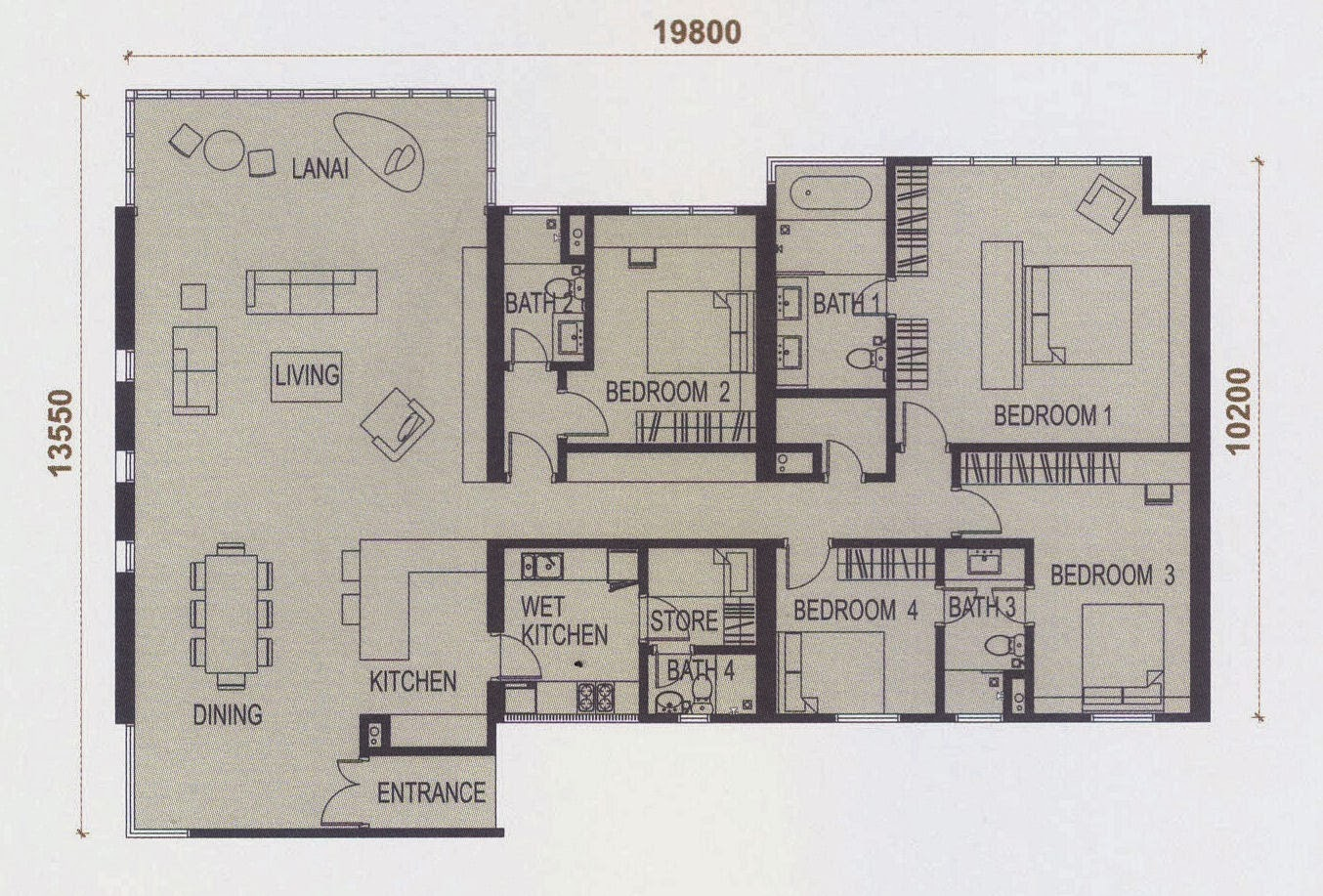 Floor plan feng shui elevia residences condominium for Best feng shui floor plan