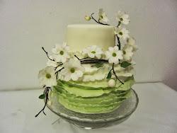 Zöld fodros virágokkal