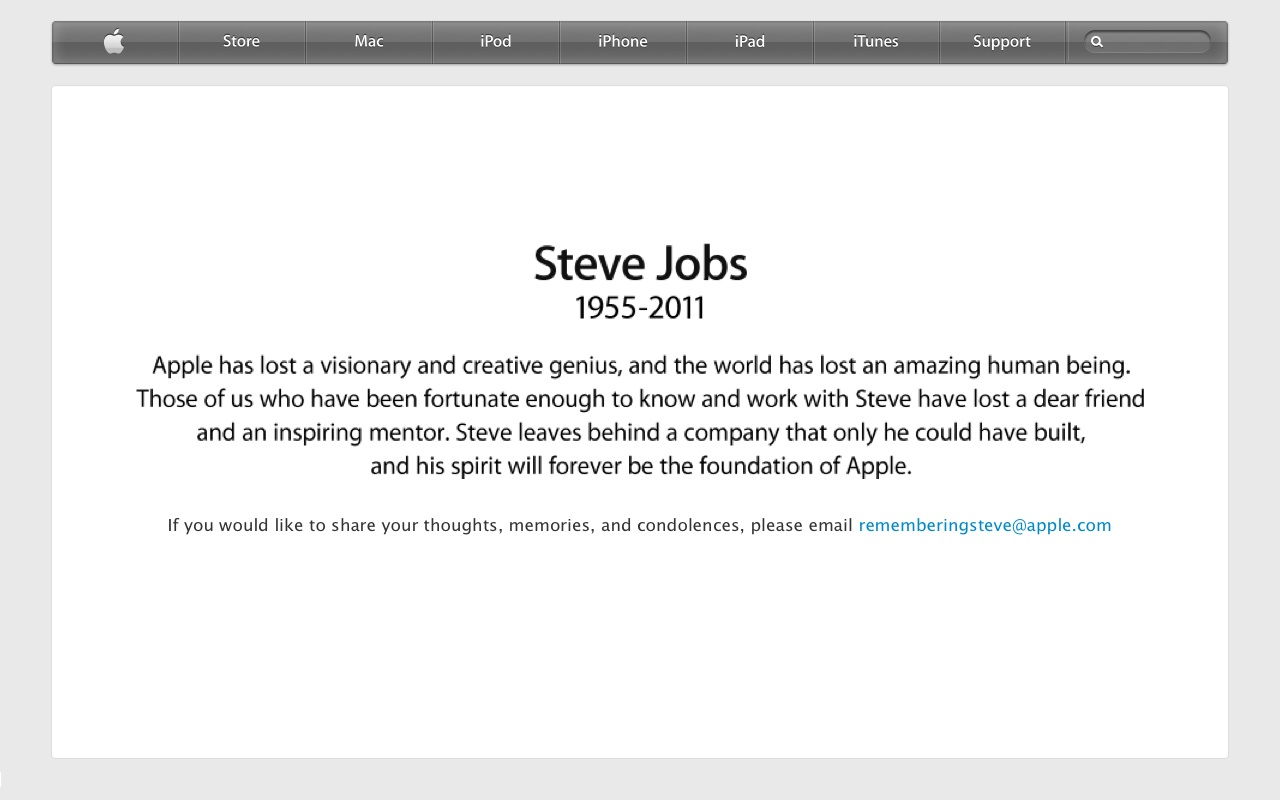 today i heard about the death of steve jobs over the radio when i was traveling to school i was shocked and immediately checked to confirm his death