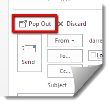 "Image shows the ""Pop Out"" button in MS Outlook 2013."