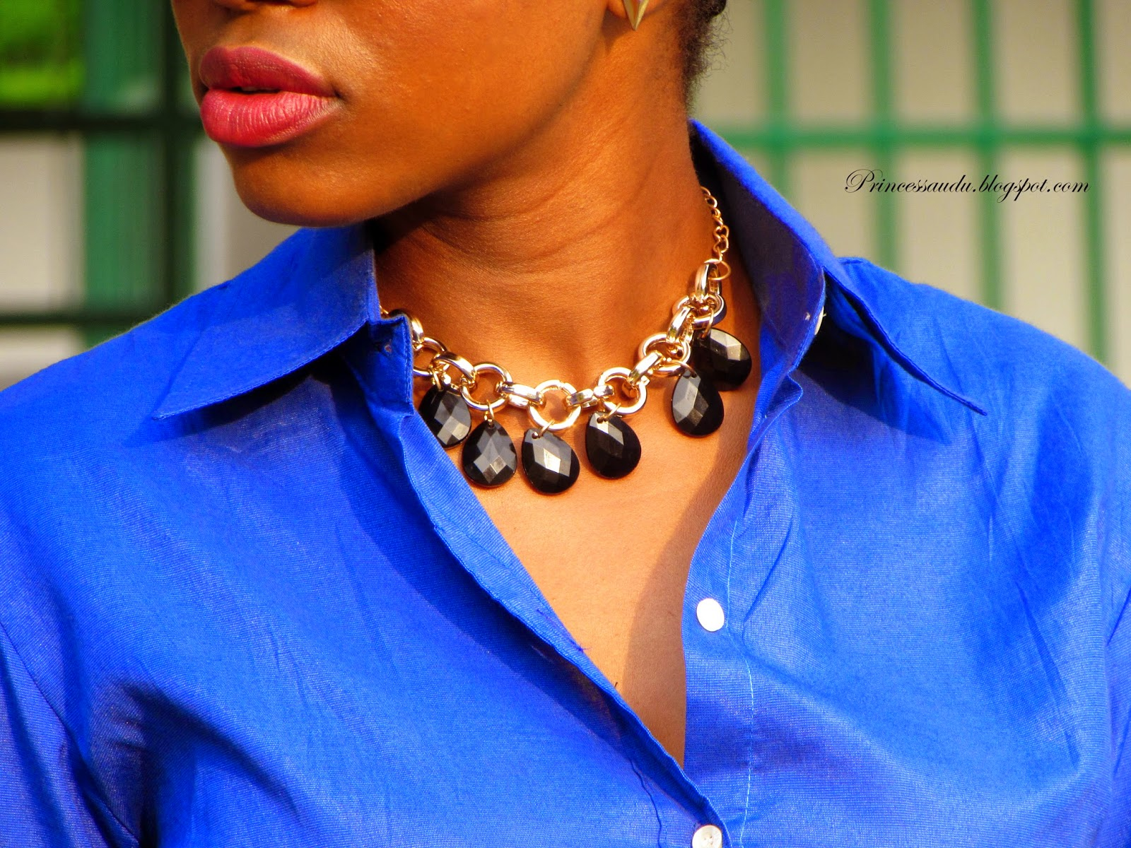 cobalt blue, statement necklace, button down shirt