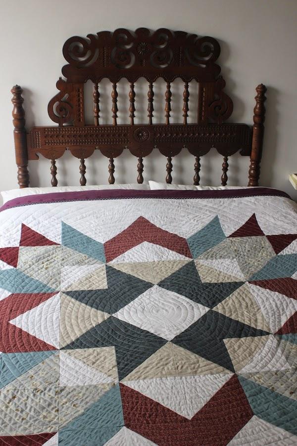 acolchado en espiral sobre patchwork