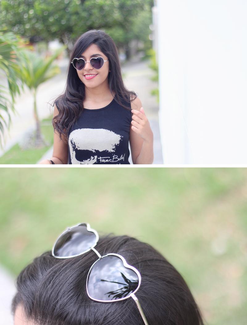 óculos, coração, óculos de coração, heart sunglasses, calça xadrez, vermelha, t-shirt, caveira, skull