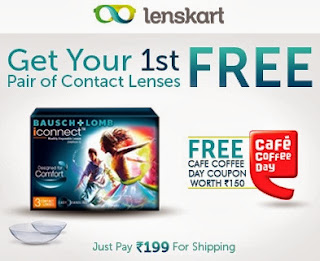 First Free pair of Bausch & Lomb Contact Lenses + Rs.150 worth Cafe Coffee Day voucher for Free. All just for Rs.199