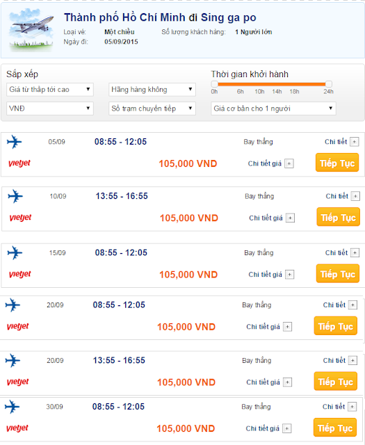 Vietjet mở bán vé máy bay đi Singapore khởi hành từ Tp Hồ Chí Minh với giá chỉ 105.000 đồng.