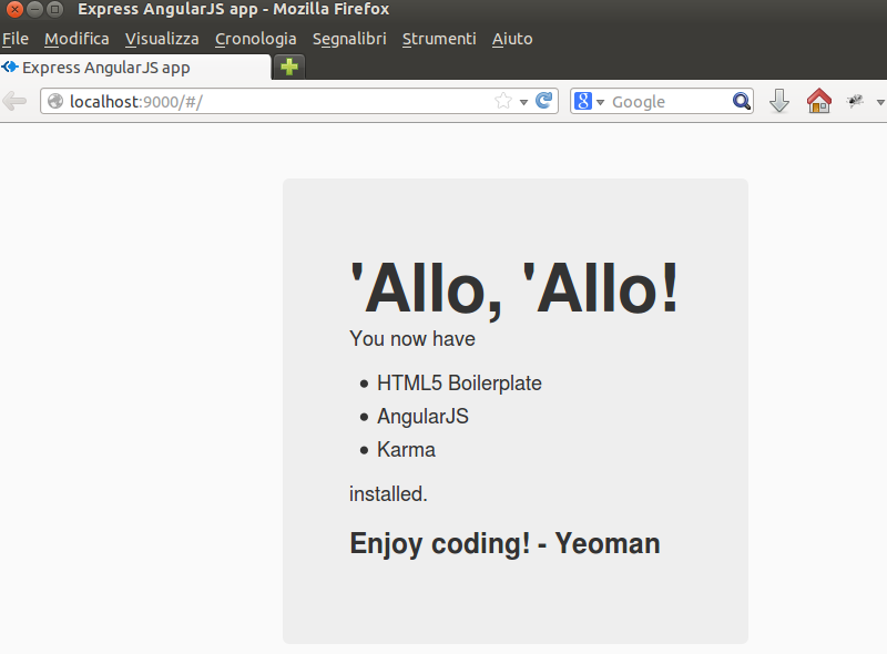 Yeoman, Express and AngularJS