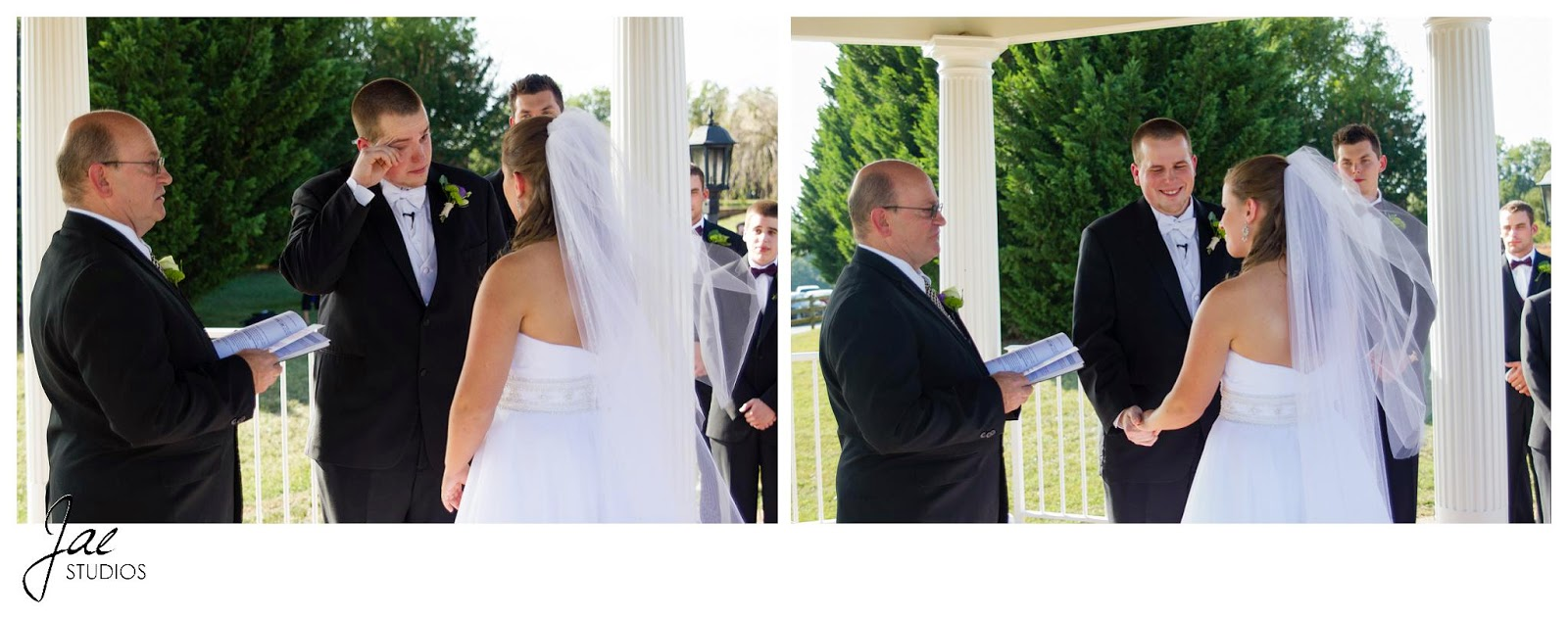Jonathan and Julie, Bird cage, West Manor Estate, Wedding, Lynchburg, Virginia, Jae Studios, ceremony, crying, pastor, bride, groom, groomsmen, veil, wedding dress outdoors