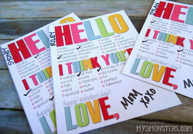 Darling Printable Valentines at my3monsters.com.  TONS of non-candy ideas with FREE printables