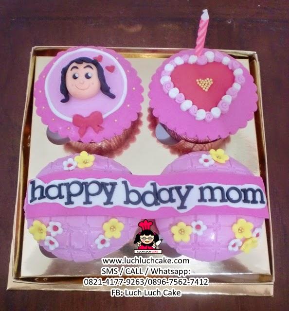 Cupcake 2D Fondant Untuk Ibu Daerah Surabaya - Sidoarjo (REPEAT ORDER)