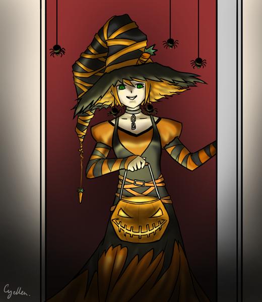Charlotte déguisée en sorcière tient une lanterne citrouille à l'éclairage inquiètant