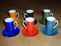 6 Multi Color Espresso Cups & Saucers Harmony House
