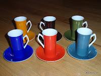 6 Multi Color Espresso Cups & Saucers Harmony House