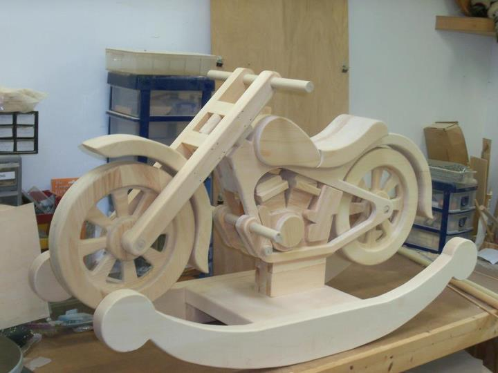 Small wood house plan wooden motorcycle rocker plans for Woodworking plan for motorcycle rocker toy