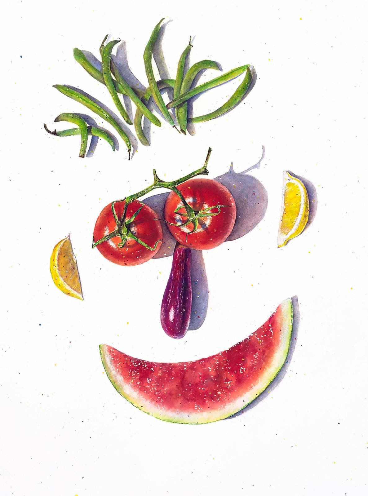 creative illustrations of food, food faces