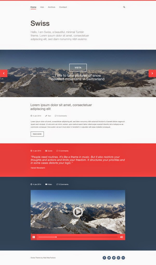 Swiss – Free PSD Tumblr template