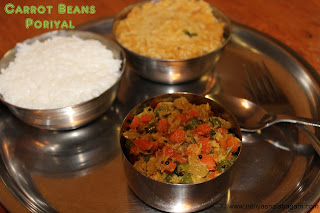 Carrot Beans poriyal | Carrot beans dry curry