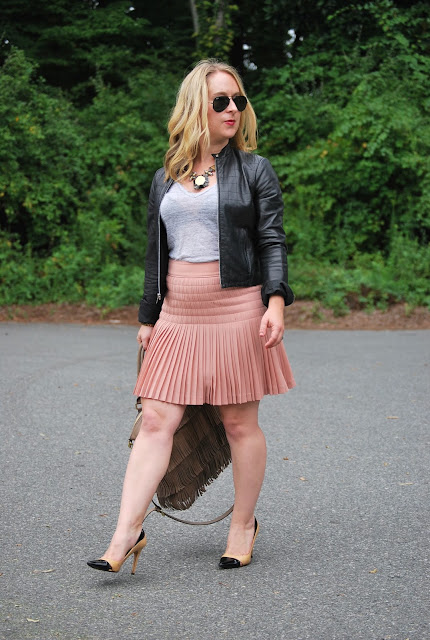 feminine mix, how to wear a pleated skirt, leather jacket