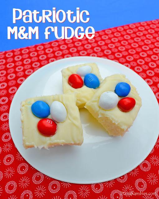 Easy Patriotic M&M Microwave Fudge