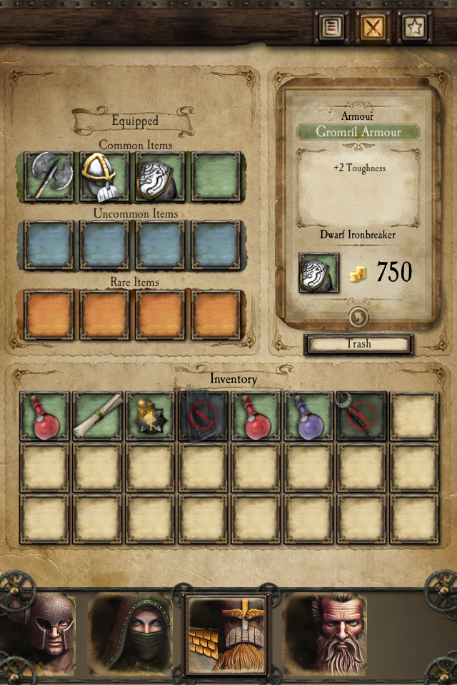 Warhammer Quest iOS review inventory