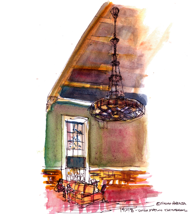 "shiho nakaza ""Los Angeles"" ""Union Station"" watercolor sketch sketchcrawl"