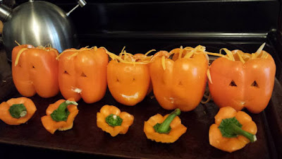 Halloween stuffed peppers, jack-o-lantern, Halloween dinner, Halloween treats